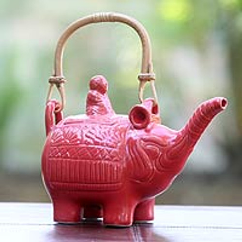Hand Made Indonesian Ceramic Teapot 'Buddha and the Ruby Elephant'