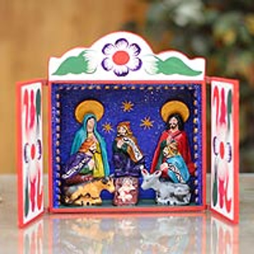 Christianity Wood Retablo Folk Art from the Andes 'Nativity Scene'