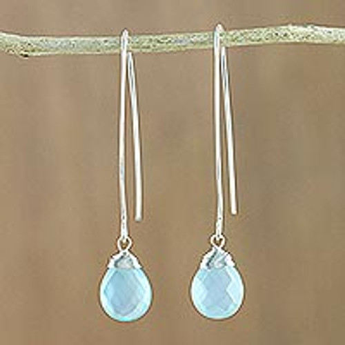 Hand Made Sterling Silver and Chalcedony Earrings 'Sublime'