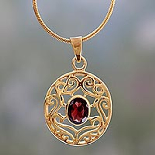 Handcrafted Vermeil and Garnet Necklace Golden Jewelry 'Golden Goddess'