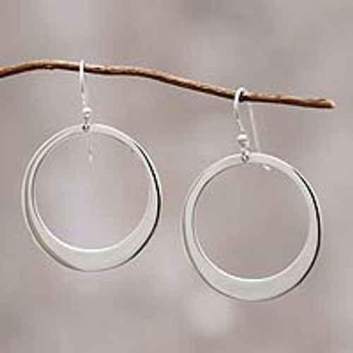 Unique Sterling Silver Dangle Earrings 'Perfect Moon'