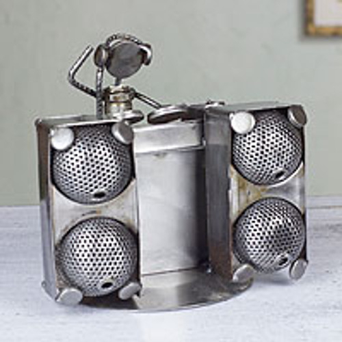 Dance and Music Metal Recycled Auto Parts Sculpture 'Rustic DJ'