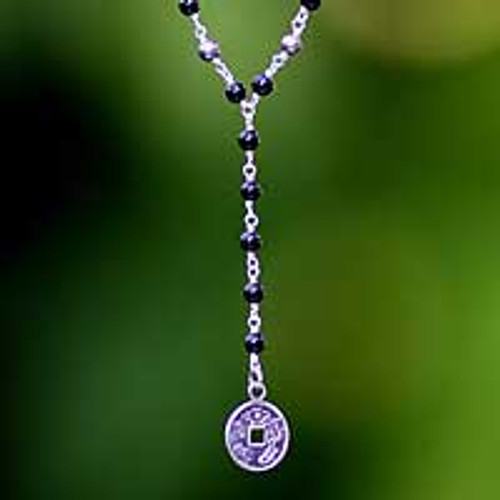 Sterling Silver Y Necklace with Pearls and Onyx 'Good Fortunes'