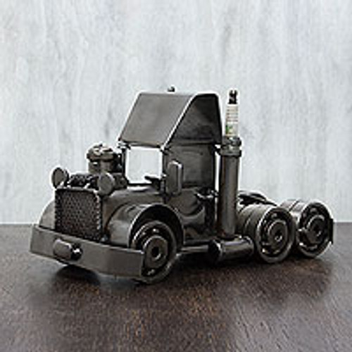 Original Trucker Statuette of Recycled Car Parts from Mexico 'Rustic Semi Truck Cab'