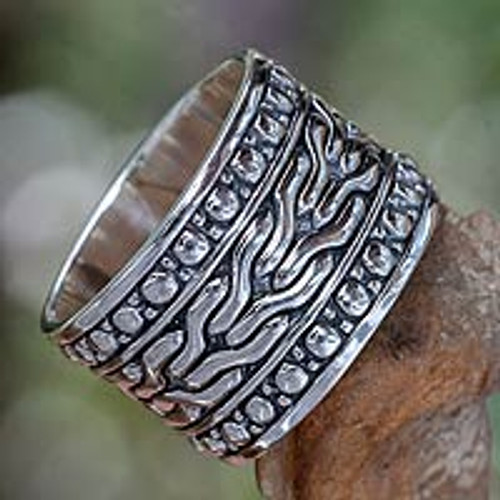 Men's Handcrafted Sterling Silver Band Ring 'Water'