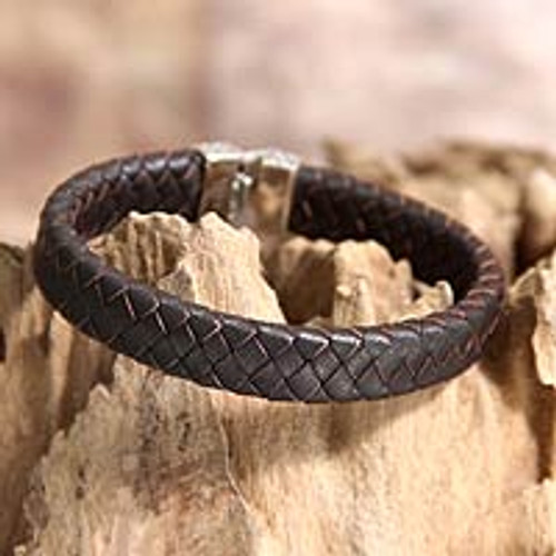 Men's Unique Braided Leather Bracelet 'Masculine'