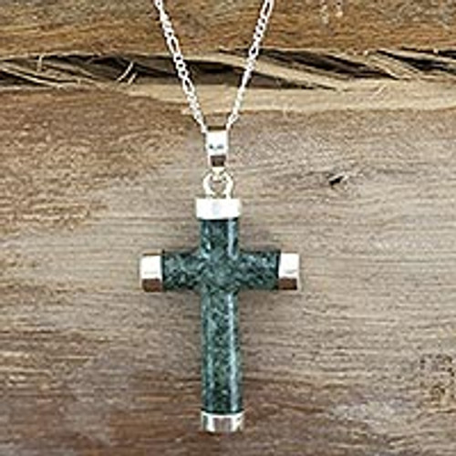 Handcrafted Sterling Silver Jade Pendant Cross Necklace 'Maya Hope'