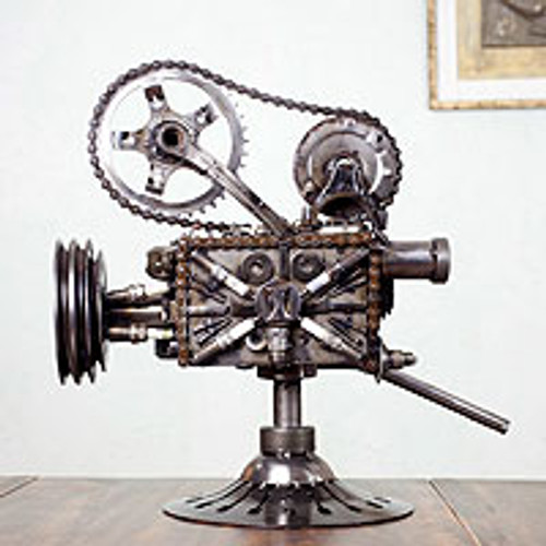 Collectible Recycled Metal Movie Theater Sculpture 'Rustic Film Projector'