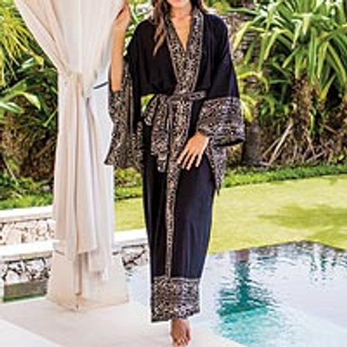 Indonesian Floral Patterned Black and Ivory Robe 'Batik Midnight'