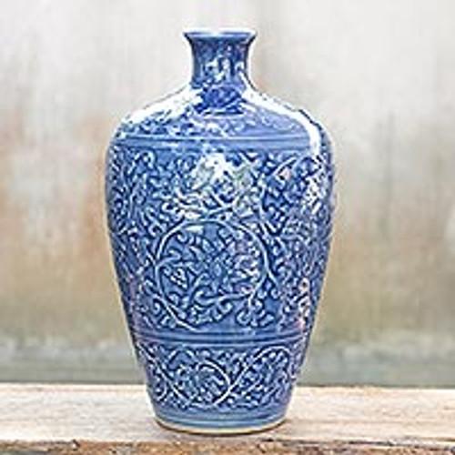 Celadon Ceramic Vase from Thailand 'Azure Lace'