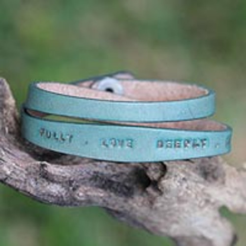 Fair Trade Inspirational Leather Wrap Bracelet 'Live Fully in Green'