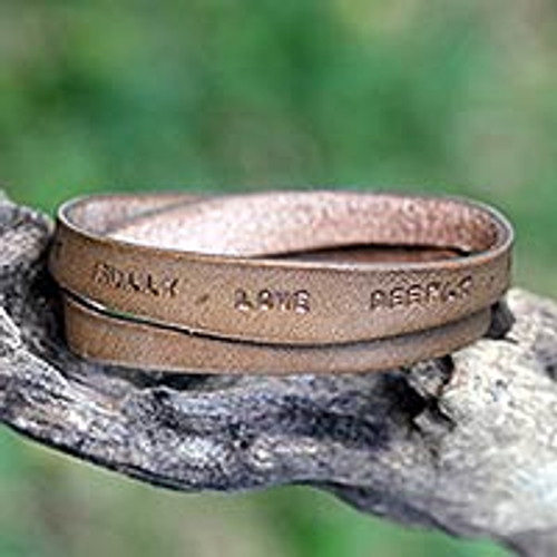 Unique Inspirational Leather Wrap Bracelet 'Live Fully in Brown'
