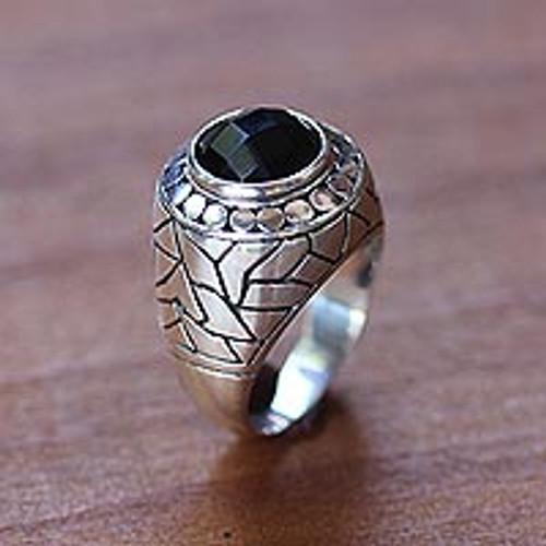 Men's onyx domed ring 'Denpasar Hero'