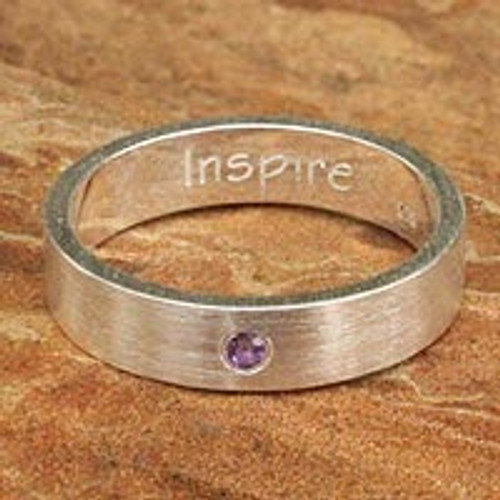 Amethyst and Silver Inspirational Band Ring 'Inspire'