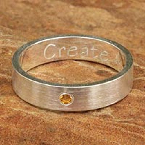 Citrine band ring 'Create'