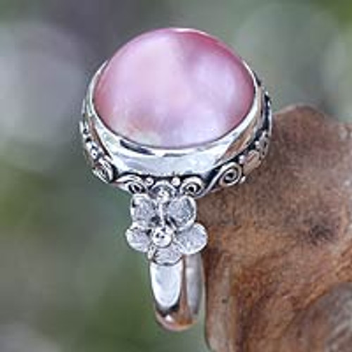 Floral Sterling Silver and Pearl Cocktail Ring 'Love Moon'