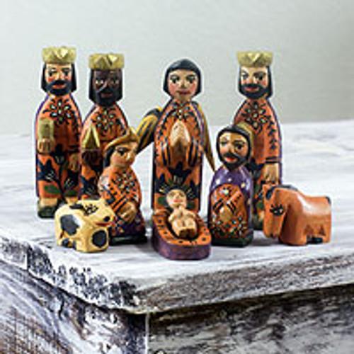 Artisan Crafted Christianity Wood Nativity Scene (Set of 10) 'Devotion'