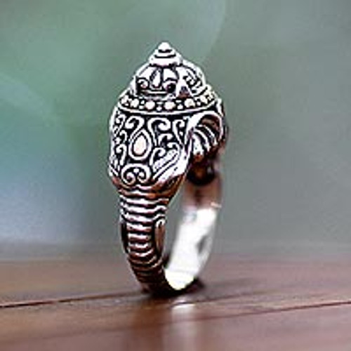 Men's sterling silver ring 'Elephant Warrior'