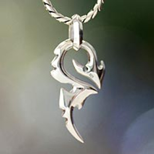 Men's Handmade Sterling Silver Pendant Necklace 'Dragon Tail'