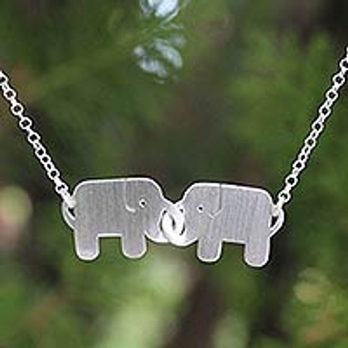 Unique Sterling Silver Pendant Necklace 'Elephant Friendship'
