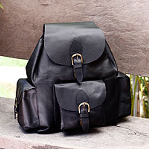 Leather backpack 'Black Deluxe'