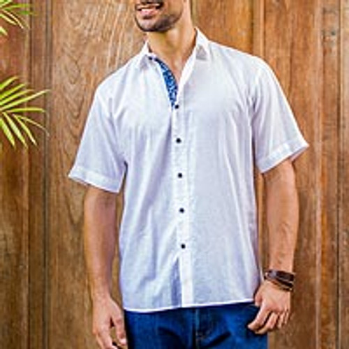 Men's Short Sleeve Cotton Shirt 'White Lombok'