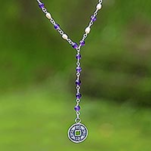 Cultured pearls and amethyst Y necklace 'Good Fortunes'