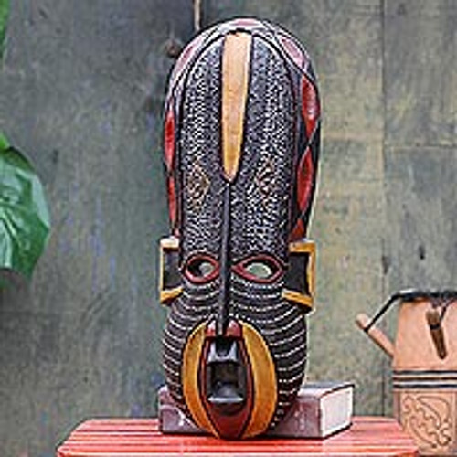 Hand Made African Wood Mask 'Akan Beauty'