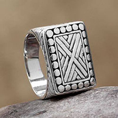 Men's Handcrafted Sterling Silver Signet Ring 'Ancient Fortress'
