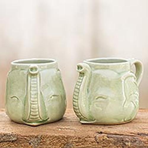 Celadon Ceramic Mugs (Pair) 'Elephant Greeting'