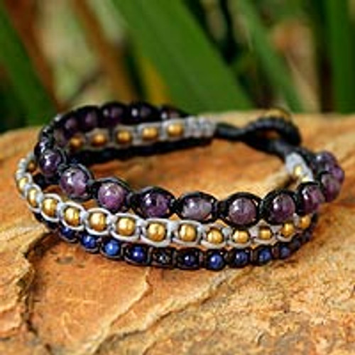 Amethyst and lapis lazuli beaded bracelet 'Urban Colors'