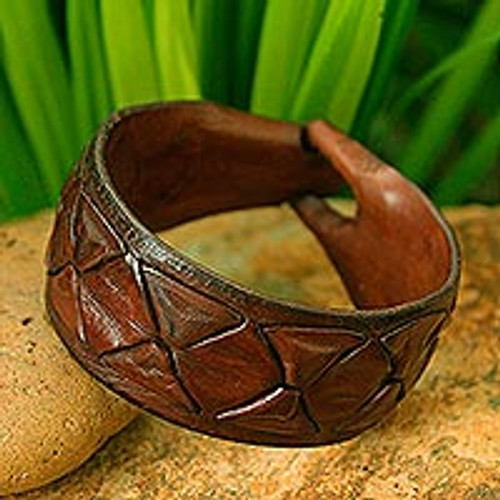 Men's Leather Wristband Bracelet 'Sukhothai Brown'