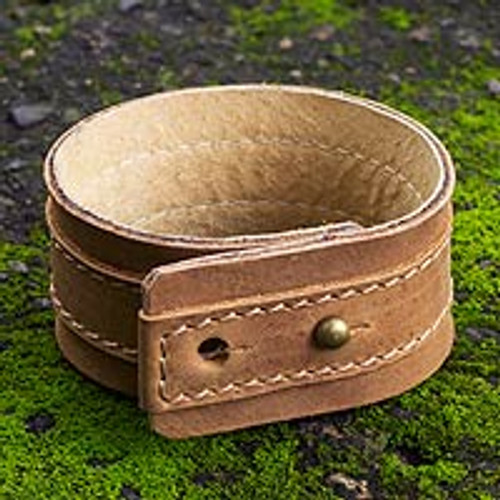 Men's Leather Wristband Bracelet 'Desert Sands'