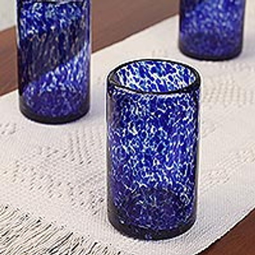 Handmade Handblown Recycled Juice Glasses (Set of 6) 'Marine'