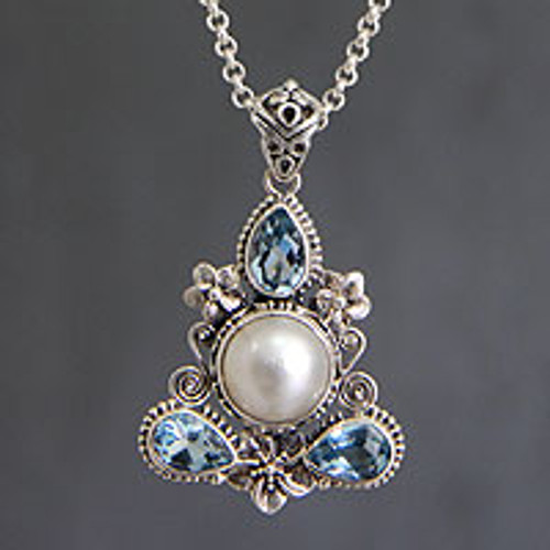 Artisan Crafted Blue Topaz and Pearl Silver Necklace 'Frangipani Trio'