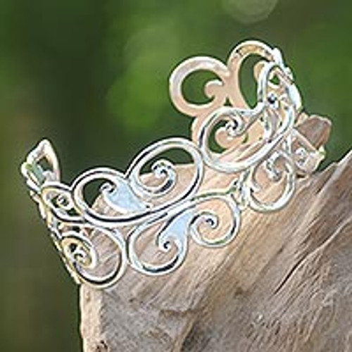 Sterling Silver Cuff Bracelet 'Forest Fronds'