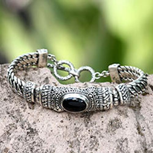 Men's Handmade Sterling Silver and Onyx Bracelet 'Royal Bali'