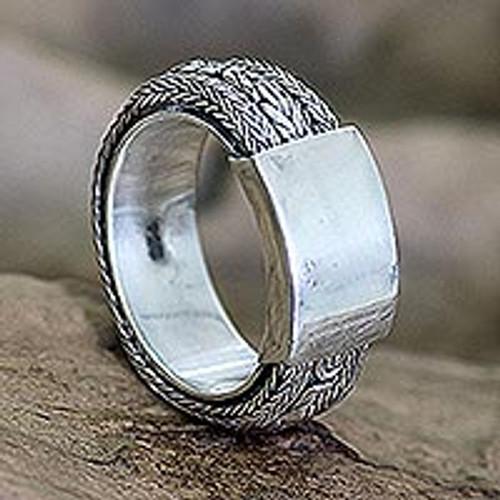 Men's Sterling Silver Band Ring 'Borobudur Dragon'