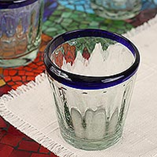 Hand Blown Juice Glasses Set of 6 Blue Rim Mexico 'Short Cobalt Groove'