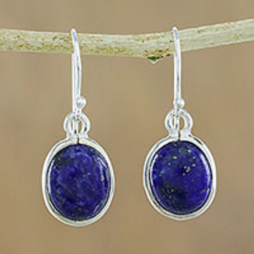 Thai Sterling Silver and Lapis Lazuli Earrings 'Majestic Blue'