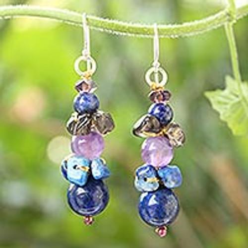 Beaded Lapis Lazuli Earrings 'Thai Harmony'