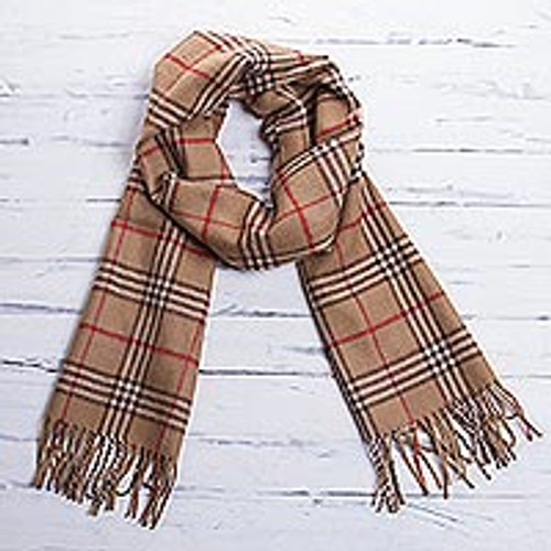 Fair Trade Men's Baby Alpaca Scarf from Peru 'Toasty Brown'