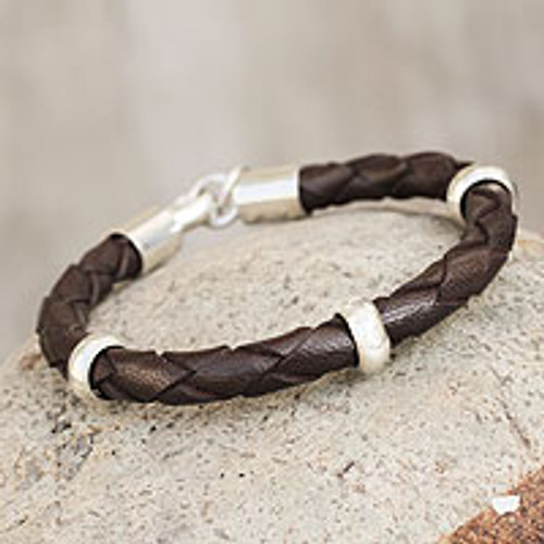 Men's leather bracelet 'Chankas Warrior in Dark Brown'