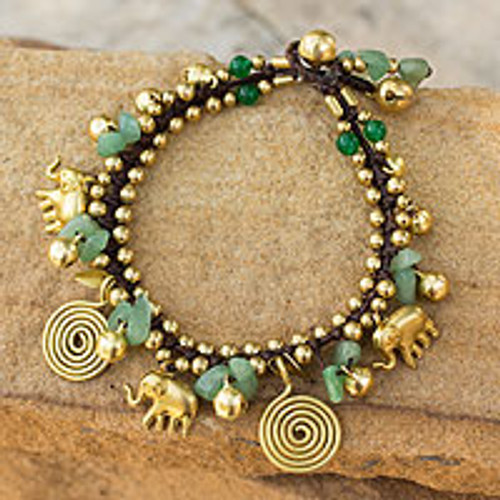 Hand Made Brass and Aventurine Elephant Charm Bracelet 'Splendor of Siam'