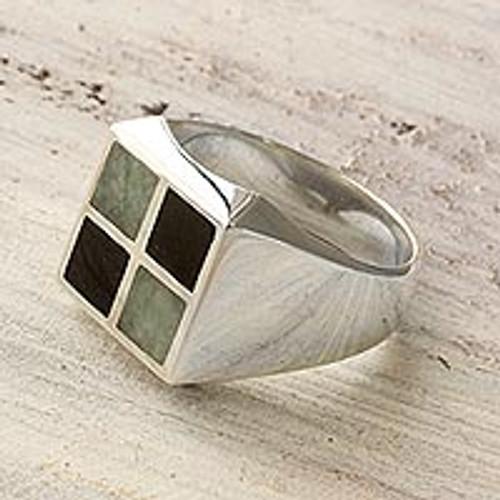 Artisan Crafted Jade Inlay Modern Men's Ring 'Royal Maya'
