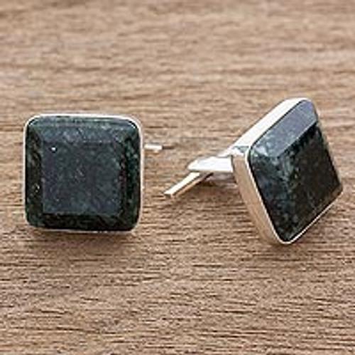 Jade cufflinks 'Maya Minimalist'