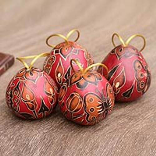 Mate Gourd Holiday Ornaments (Set of 4) 'Butterflies'