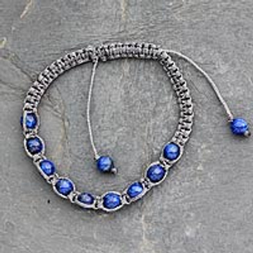 Lapis lazuli Shambhala-style bracelet 'Truth and Prayer'