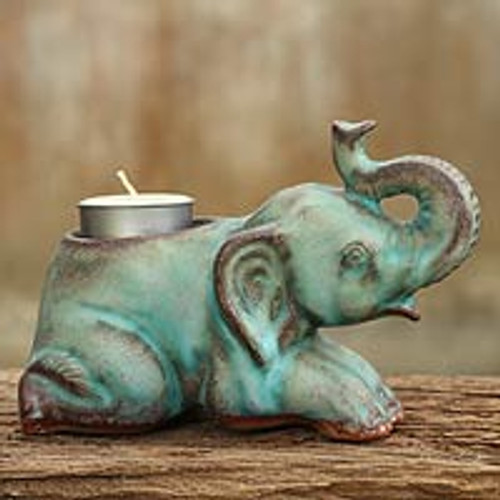 Celadon Ceramic Tea Light Holder from Thailand 'Reclining Turquoise Elephant'