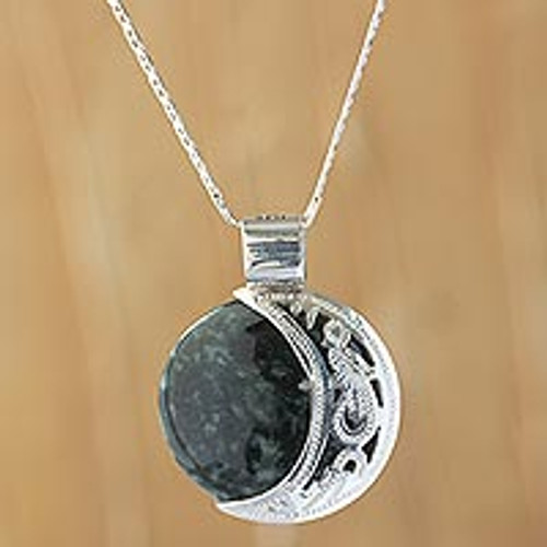 Maya Eclipse Pendant Green and Black Jade on Silver Jewelry 'Quetzal Eclipse'